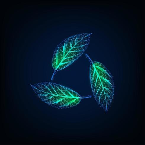 Reciclar sinal feito de folhas verdes transparentes brilhantes