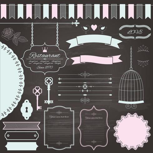 Retro schoolbord elementen ontwerpset