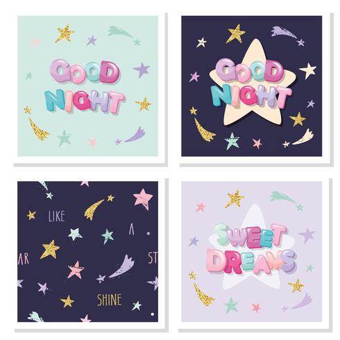 Conjunto de elementos de letras lindas de dulces sueños vector