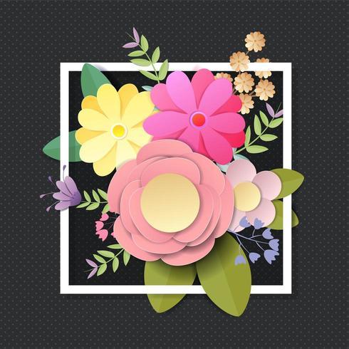 Flores de papel artesanales en marco y colores brillantes de otoño sobre fondo negro vector