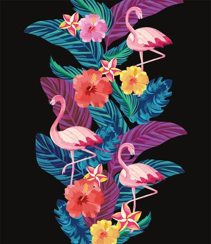 tropical flamingos with leaves and flowers background