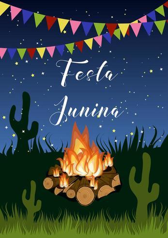 Festa junina Poster mit Lagerfeuer