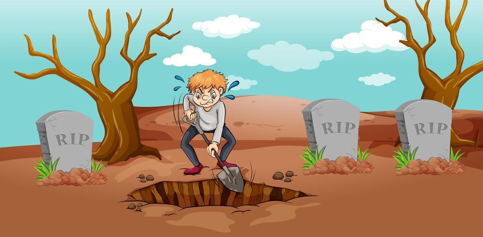 Cena com homem cavando buraco no cemitério