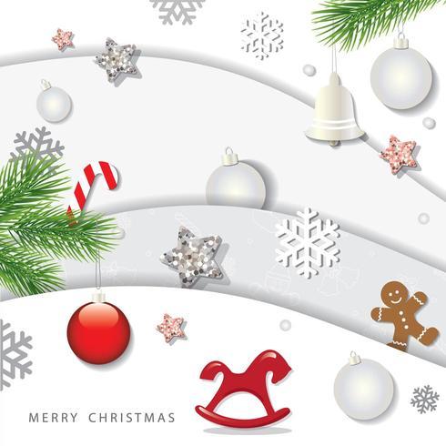 Navidad y feliz año nuevo fondo de invierno diseño 3D vector