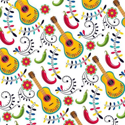 violão mexicano com flores e chilis padrão de decoração vetor