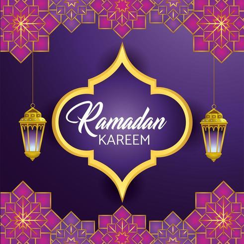 etichetta con lampade appese per la celebrazione del Ramadan Kareem vettore