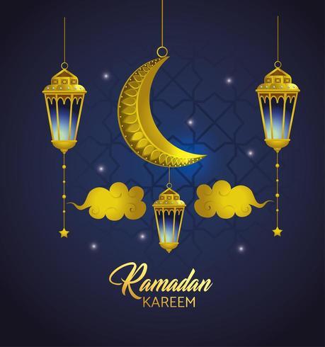 lámparas con nubes y luna colgando de ramadan kareem vector