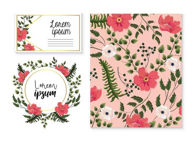 Conjunto de tarjeta y etiqueta con flores y hojas exóticas vector