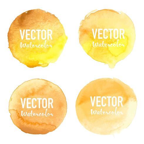 Círculo de acuarela amarilla en fondo blanco vector