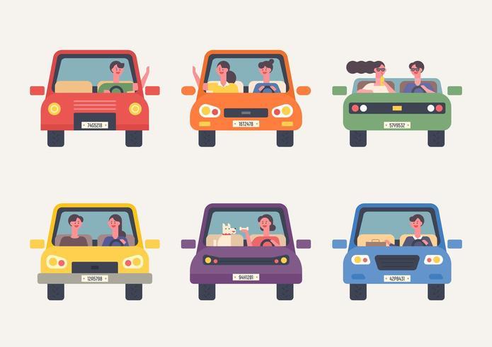 Pessoas dirigindo carros vetor