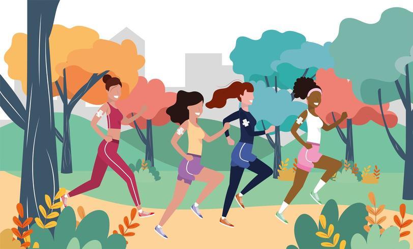 women running in the landscape vector