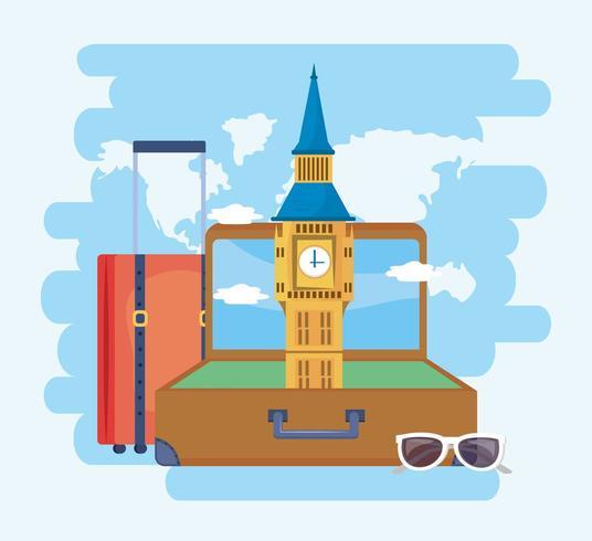 big ben nella valigetta con bagaglio e occhiali da sole vettore