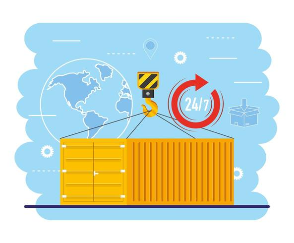 containers with crane hook and global map service