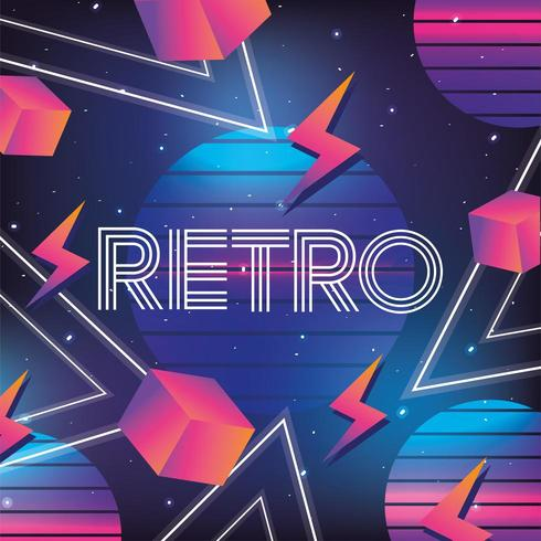 geometric neon retro graphic with circles, cubes and lightning vector