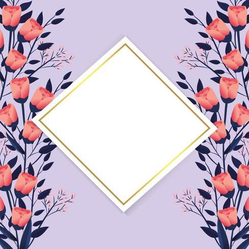 fleurs exotiques avec étiquette en diamant