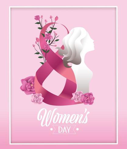 mujer con rosas y plantas para el dia de la mujer vector