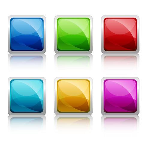 Set van kleurrijke vierkante glazen bodem