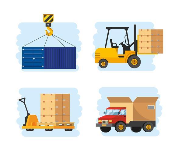 set bezorgservice met vorkheftruck en vrachtwagen transport