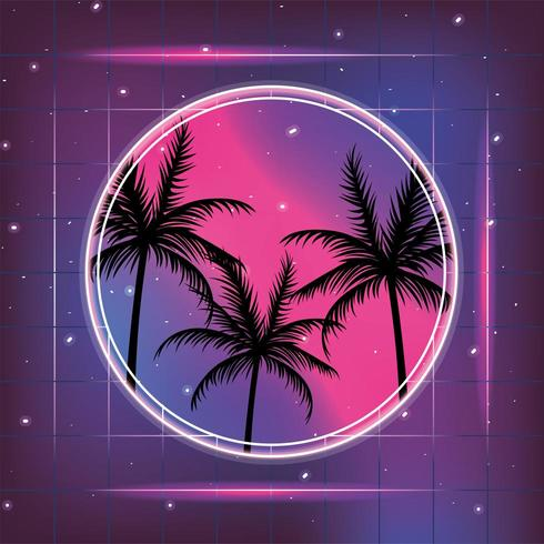 galaxy with geometric retro style and palms vector
