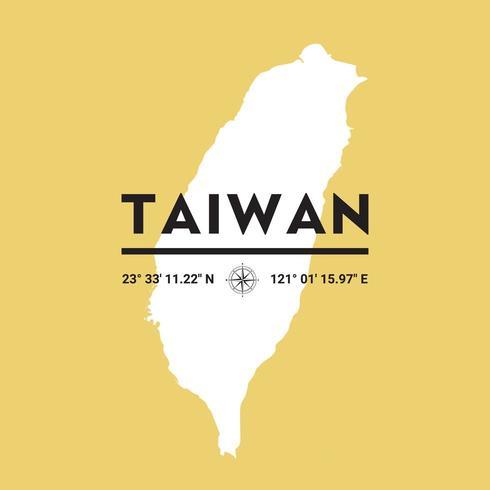 Vector silueta mapa de Taiwán