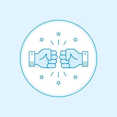 Icono de línea plana de golpe de puño vector