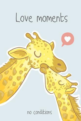 Ilustración de dibujos animados de familia linda jirafa