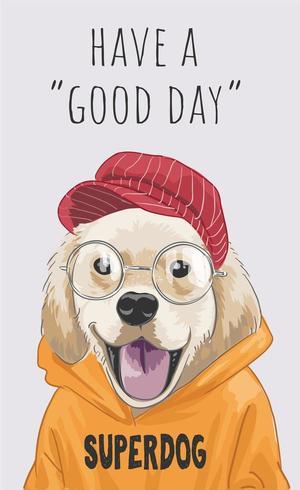 Slogan mit niedlichem Cartoonhund in der gelben Strickjackenillustration