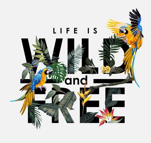 lema con flores tropicales y la ilustración de pájaro guacamayo vector