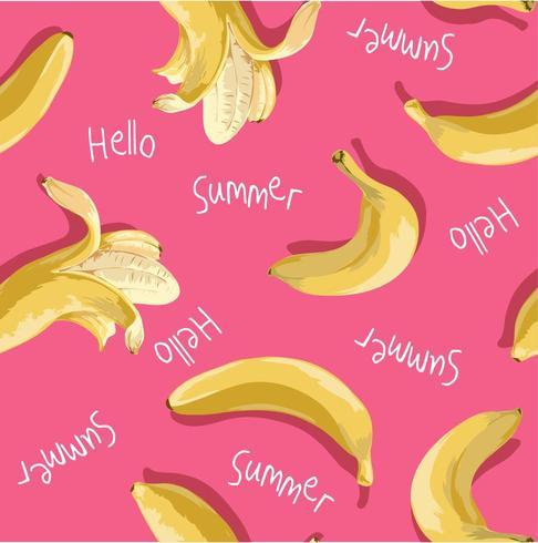 banana seamless pattern on pink background