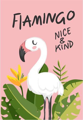 slogan with cartoon flamingo and palm leafs illustration