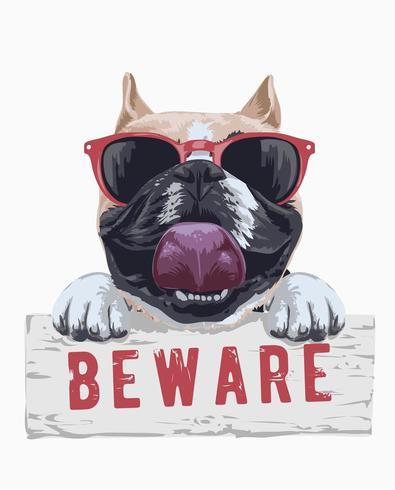 bull dog cartoon illustration holding beware sign