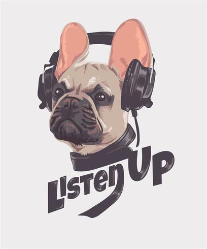 Bulldog francese con illustrazione delle cuffie