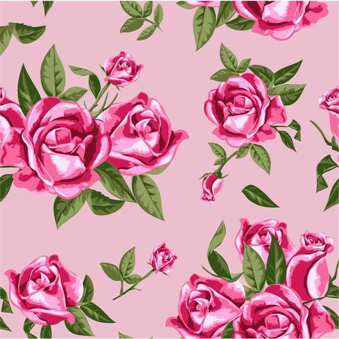 seamless vintage pink rose pattern