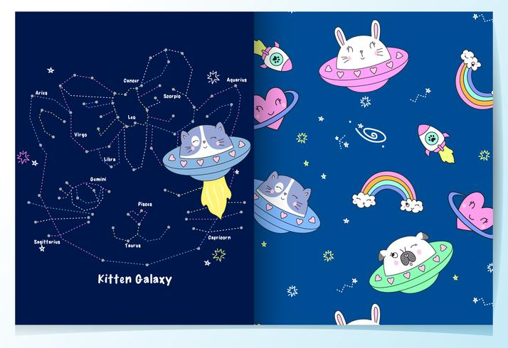 Hand drawn cute space cat with pattern set