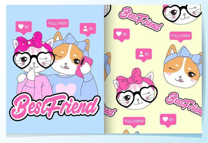 Gatti disegnati a mano carino migliore amico con set di pattern vettore