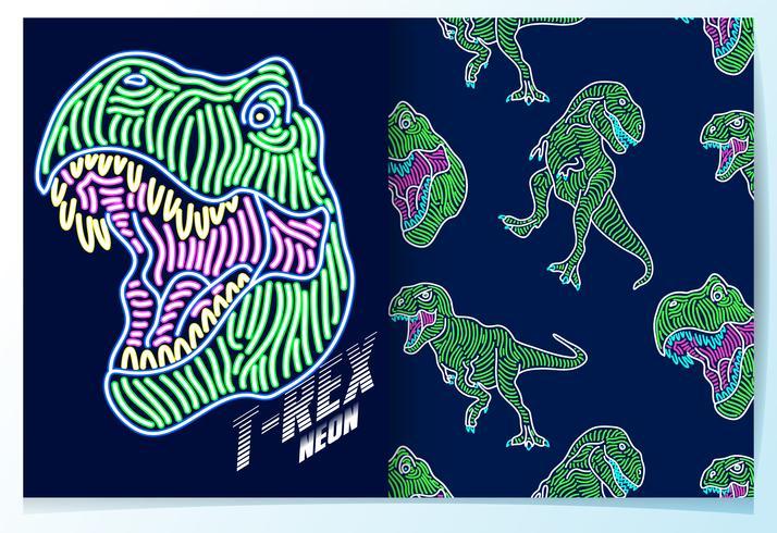 Dinosauro disegnato a mano con set di schemi di luce al neon vettore