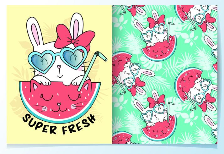 Main dessiné lapin mignon avec lunettes de soleil et modèle de motif de la pastèque vecteur