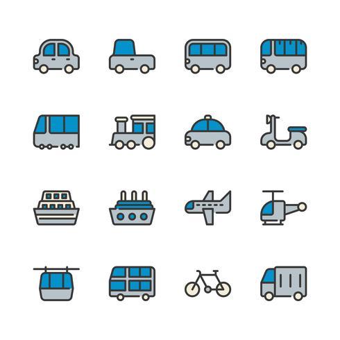 Transport Ikonuppsättning vektor