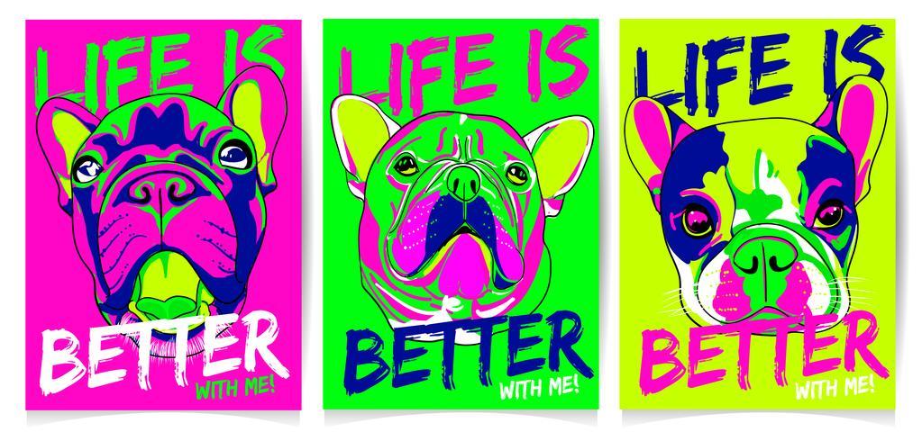 Set d'illustration cool chien dessinés à la main vecteur