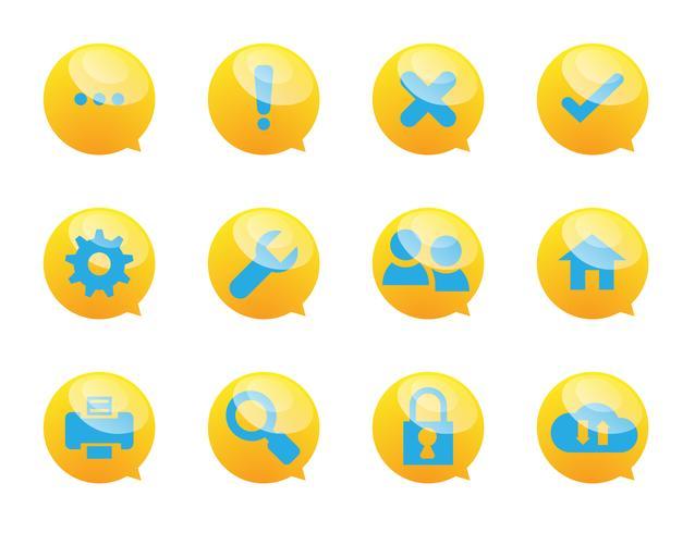ícones de serviços de bolha e sistema de discurso