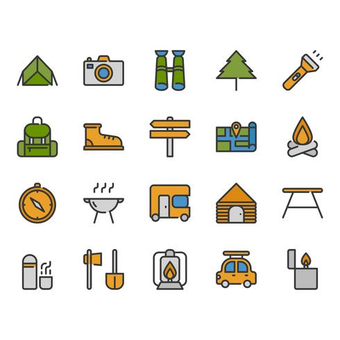 Camping and travel related icon set vector