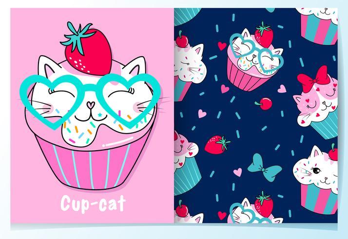 Cupcake de chat mignon dessiné avec motif vecteur