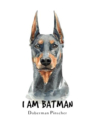 Retrato desenhado em aquarela de mão de um cão Doberman