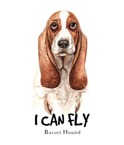 Retrato dibujado a mano acuarela de perro Basset Hound