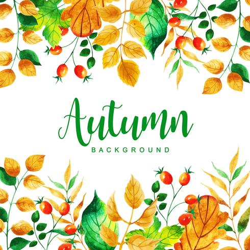 Hermoso fondo de hojas de otoño acuarela vector