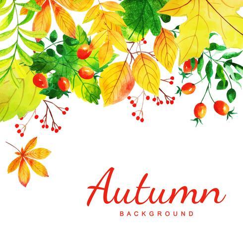 Fundo bonito de folhas de outono em aquarela vetor