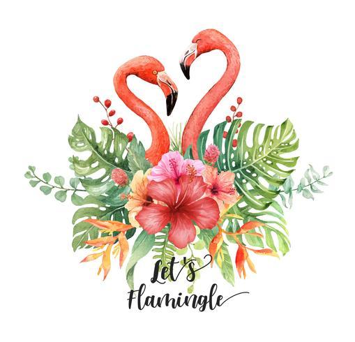 Aquarell-Flamingos, die Herz im tropischen Blumenstrauß machen.