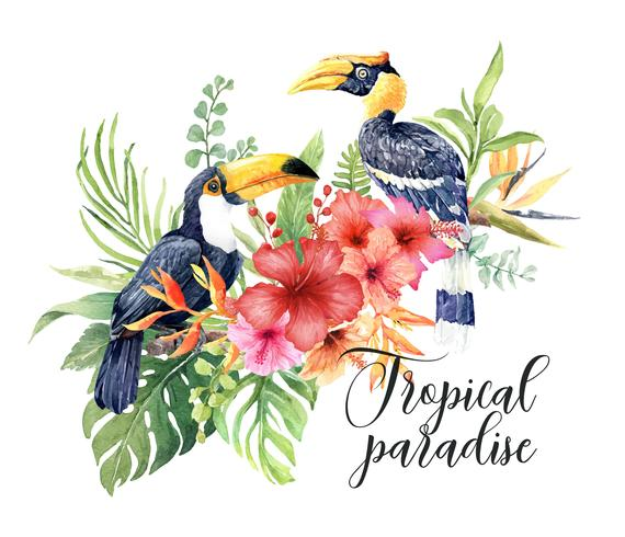 Watercolor tropical Great hornbill and Toucan in Hibiscus bouquet.