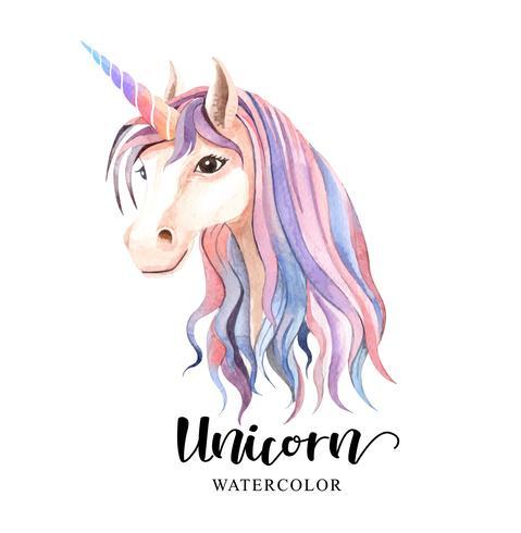 Akvarell av den färgglada enhörningen
