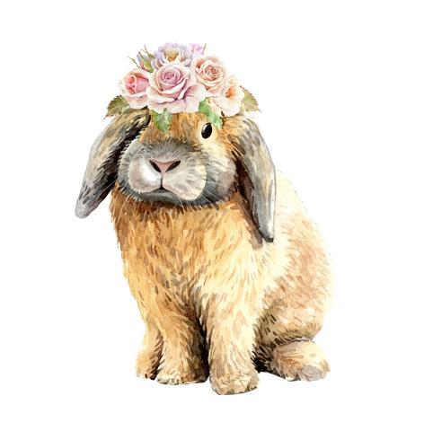 Aquarel konijn zit met bloem kroon